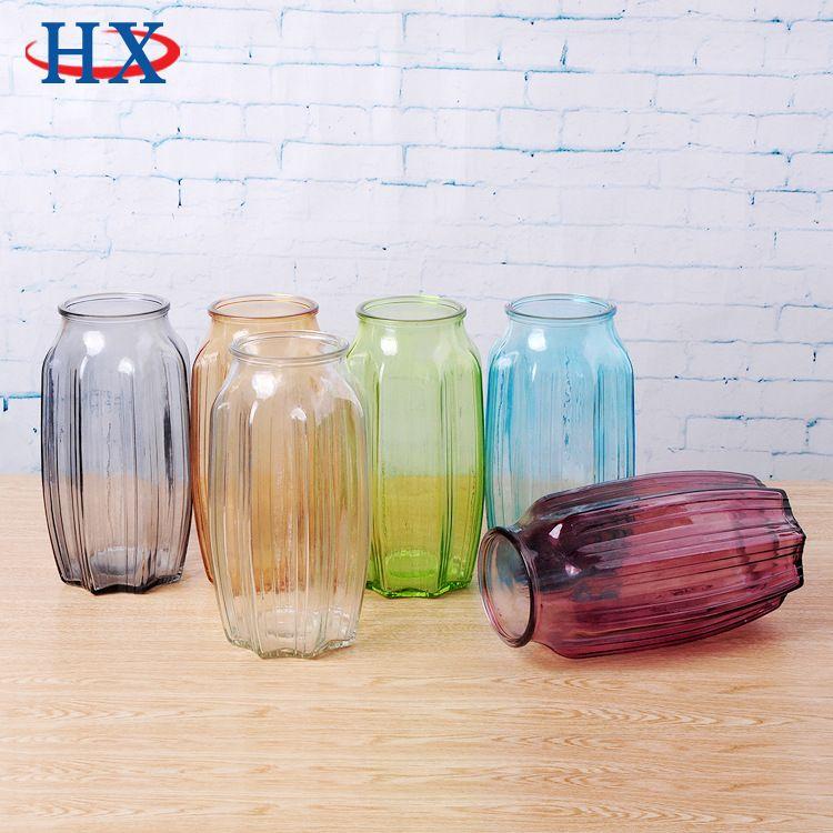 玻璃花瓶 简约现代田园花瓶 透明水培欧式花瓶彩色插花装饰摆件