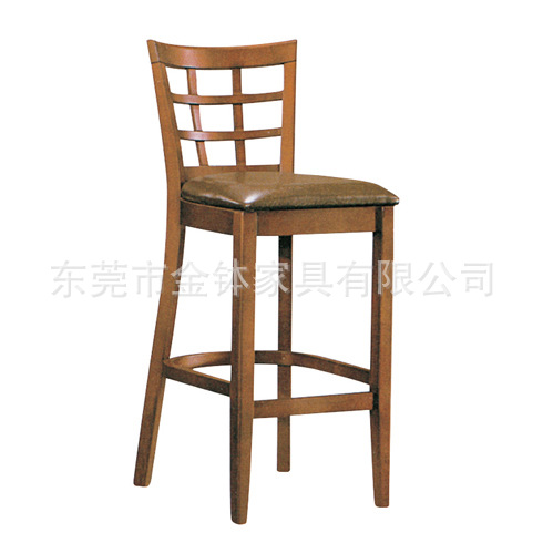 东莞供应地中海风格酒吧实木吧椅 优质实木吧台高脚凳JB-075