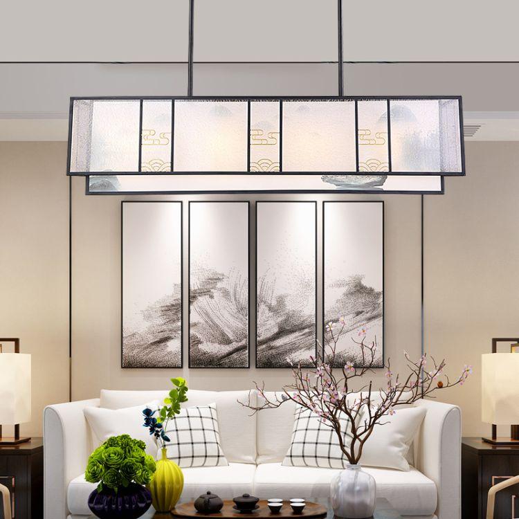 新中式吊灯 布艺餐厅灯山水画酒店客厅卧室灯 中国风铁艺灯具