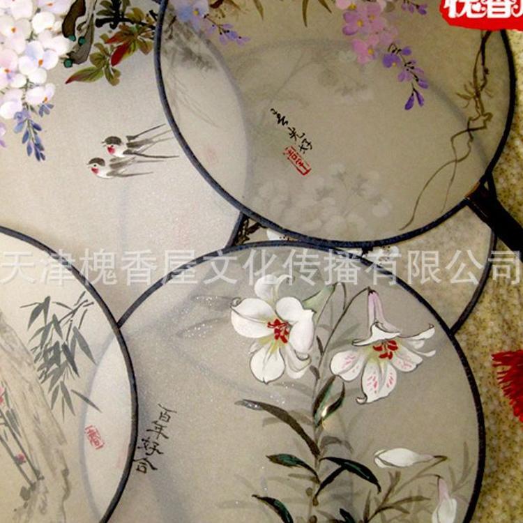厂家直销量大可优古风折扇中国风宫廷用圆扇女扇