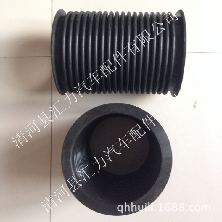 大口径带法兰边伸缩防尘减震橡胶波纹管 内经165长280mm-硅胶管
