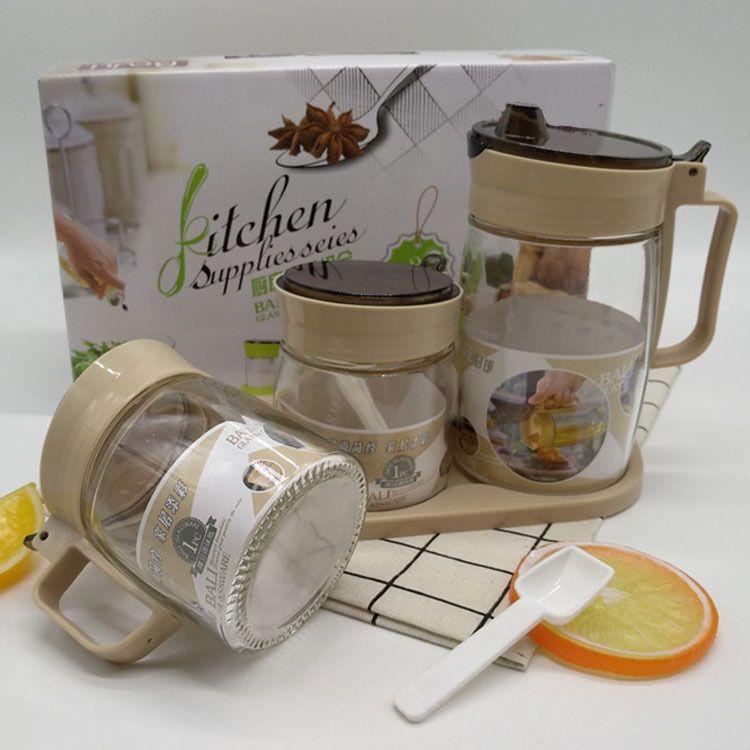 批发玻璃油壶调味罐三件套 厨房用品控油壶调料瓶套装 促销礼品