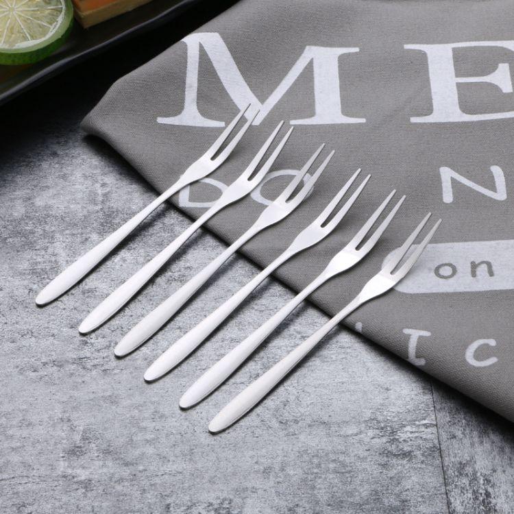 不锈钢水果叉甜点叉子耐磨耐用蛋糕叉水果签食品叉创意二齿叉批发