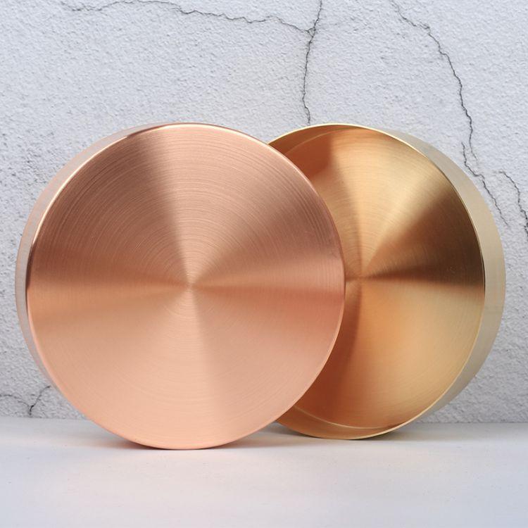 北欧纯铜复古圆形金属托盘 黄铜金色玫瑰金饰品置物收纳盘子
