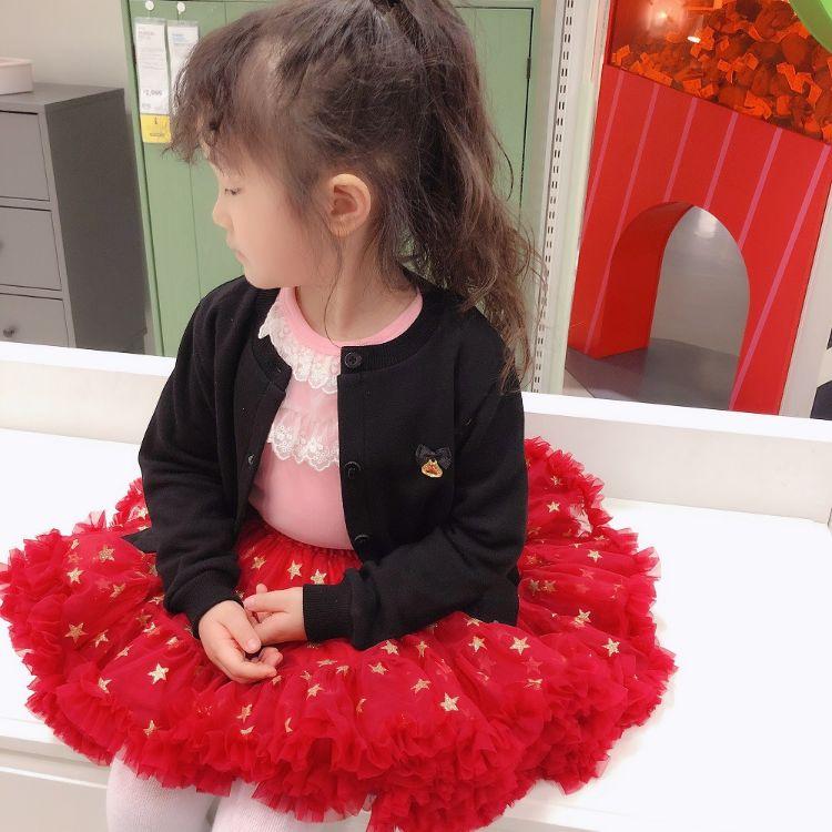 ab两穿花朵公主裙童装一件待发公主童裙圣诞红色裙子拜年服 儿童