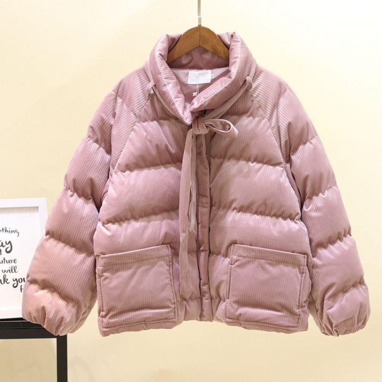 短款灯芯绒羽绒棉服2018新款ins面包服女加厚冬季小棉袄学生外套