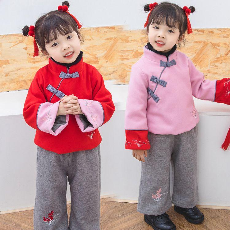 新年装儿童拜年服女童汉服宝宝唐装加厚新年服中国风古装套装冬