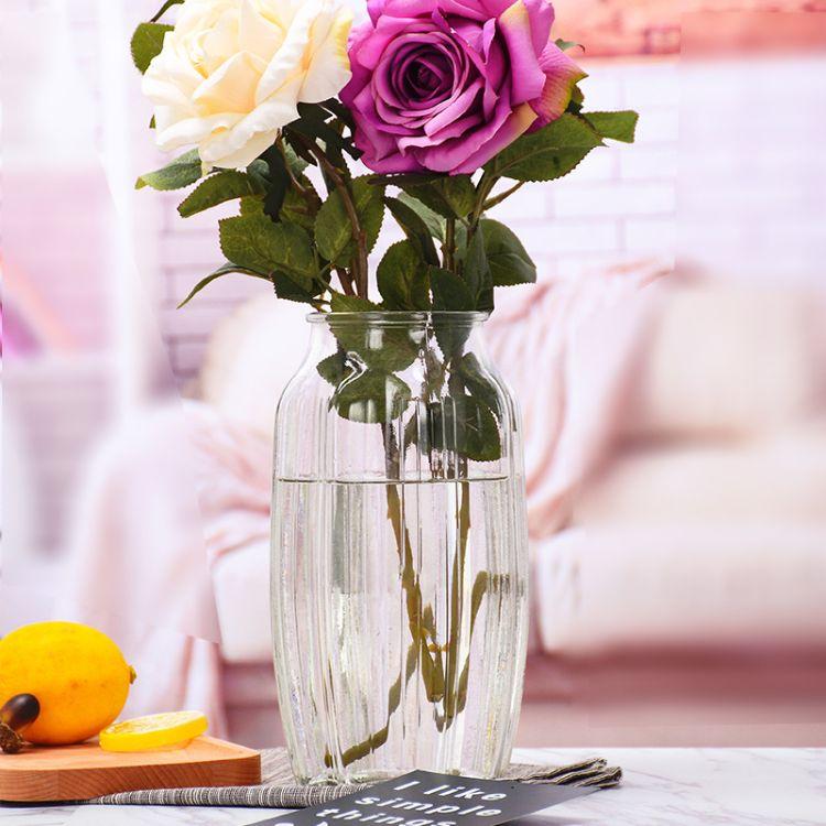 现代简约玻璃插花瓶圆形试剂瓶加厚玻璃花瓶彩色透明玻璃瓶批发