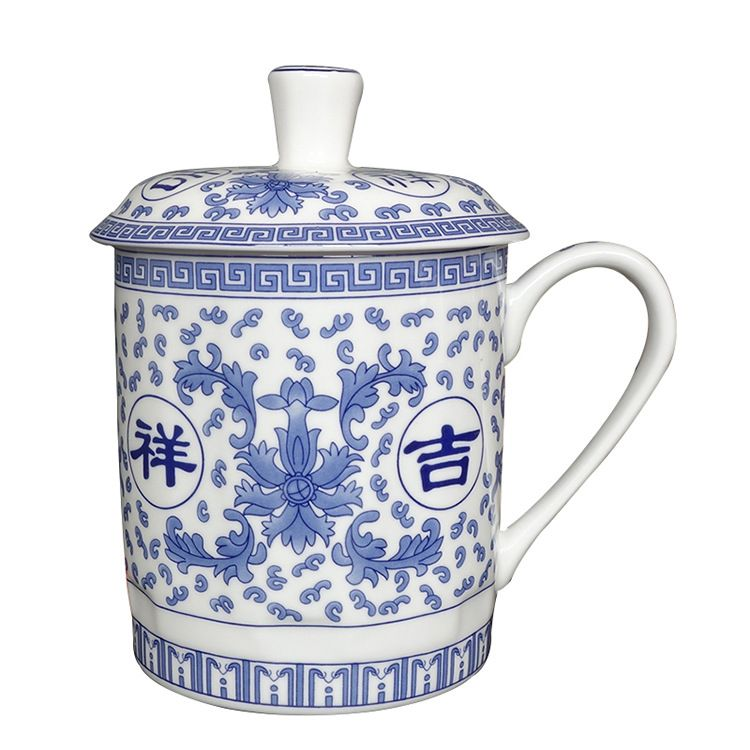厂家直销陶瓷办公杯骨质瓷会议杯带盖大号水杯logo定制商务礼品