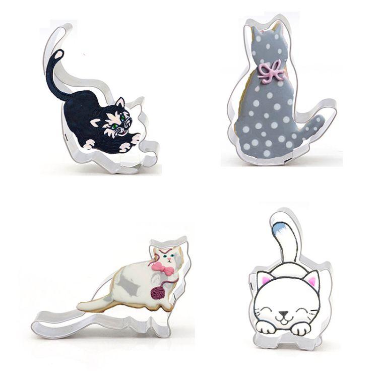不锈钢饼干模具 卡通动物小猫咪翻糖切模 DIY馒头面片工具