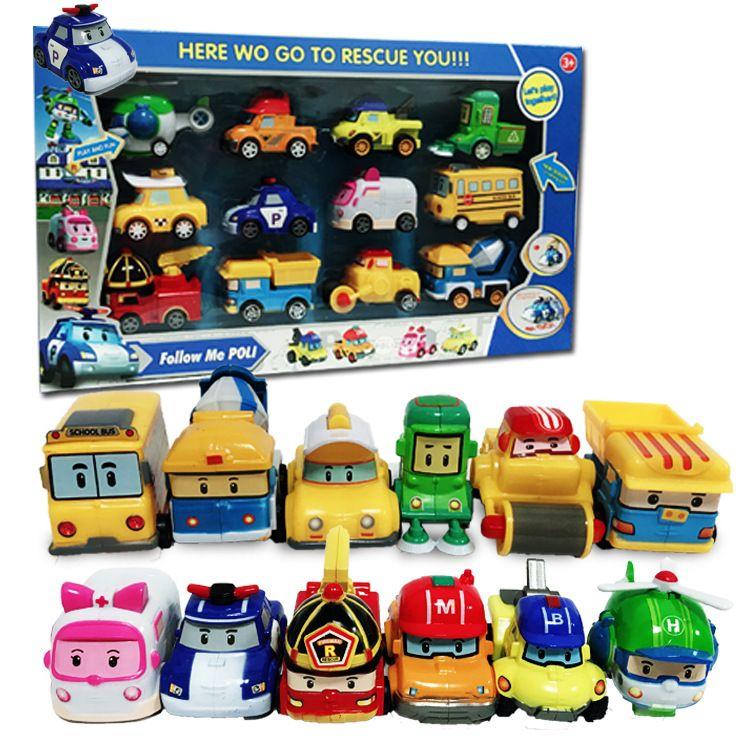 跨境速卖通热卖韩国Q版珀利回力车玩具 卡通机器人警车玩具12只装