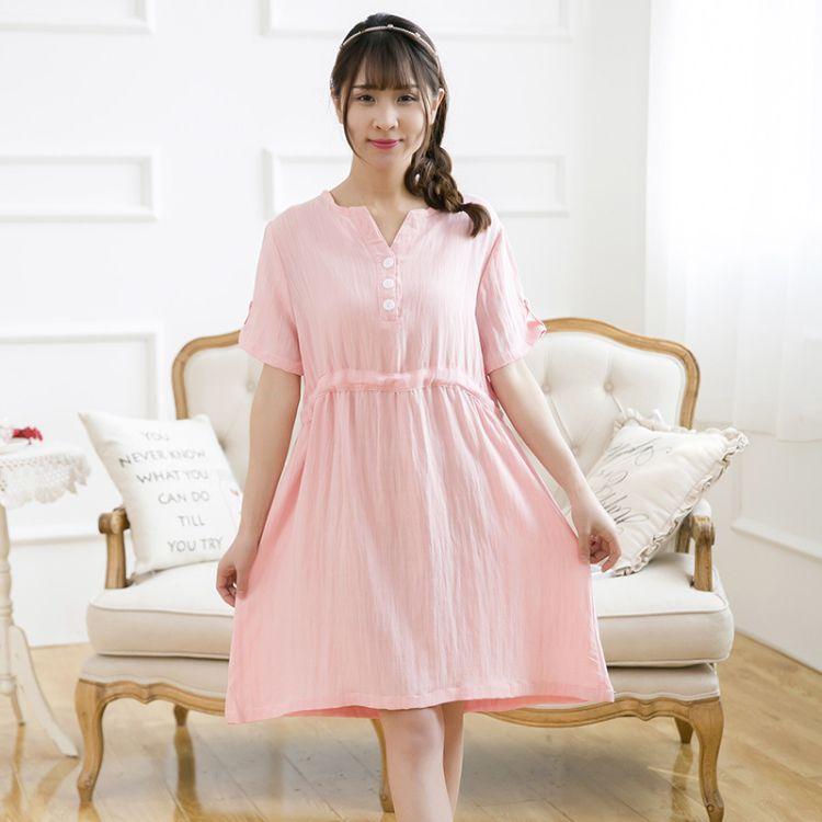 棉麻孕妇装夏韩版中长款孕妇连衣裙时尚孕妇裙子夏季短袖孕妇装