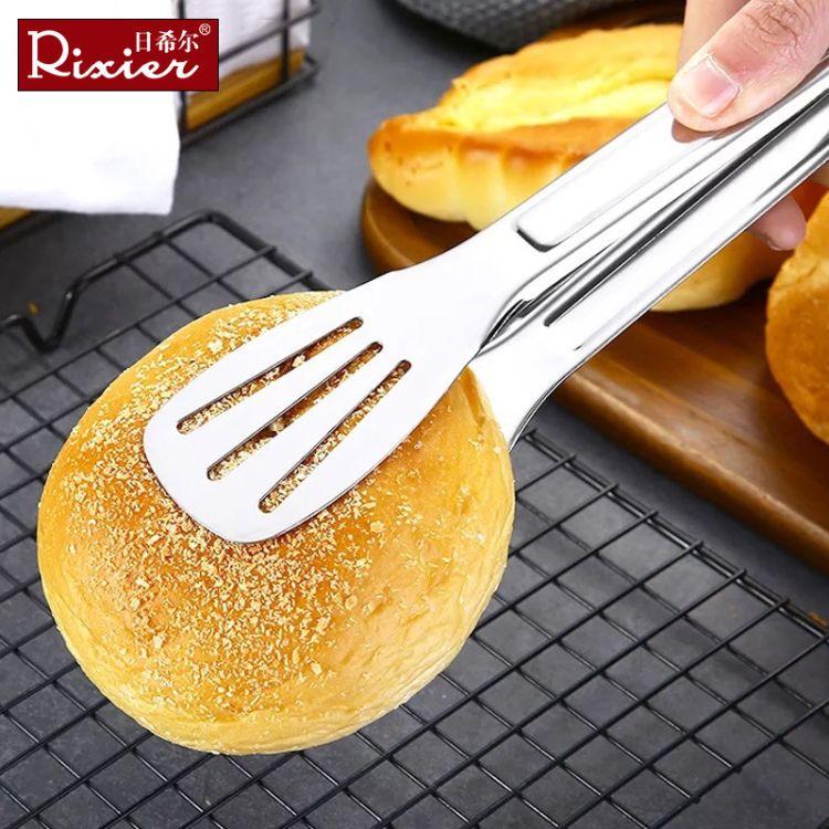厂家直销 面包夹 三线不锈钢食物夹 牛排夹 赠品 烤肉夹