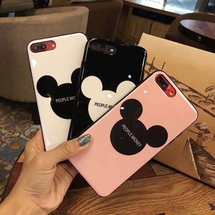 光面烤瓷米奇iphonex手机壳 苹果6s可爱情侣米奇头iphone7/8