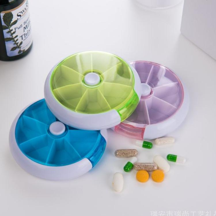 七格圆形药盒 一周7格7天塑料收纳盒旋转便携式小药盒可定制logo
