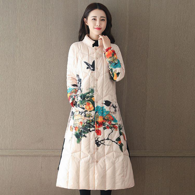 一件代发 冬季女装中国风印花羽绒棉服 立领长款过膝中式棉衣外套