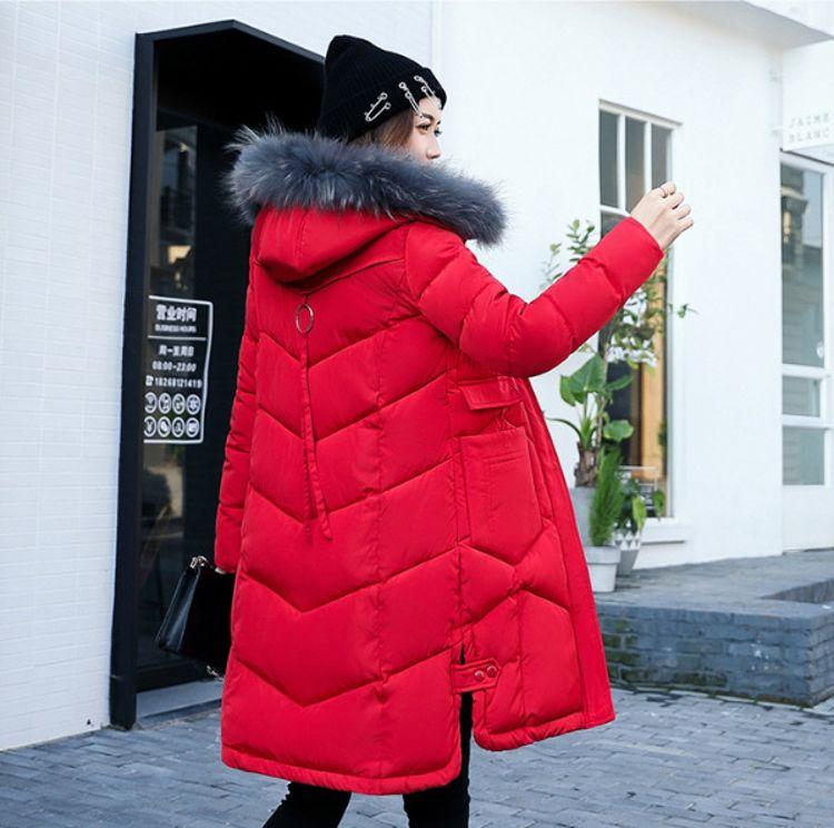 时尚百搭新款冬季防寒服批发中长连帽带毛领修身显瘦收腰保暖欧美