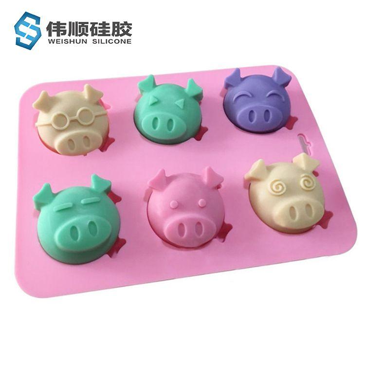 6连卡通表情猪头 硅胶蛋糕模具 果冻布丁 手工皂 微波炉烘焙工具