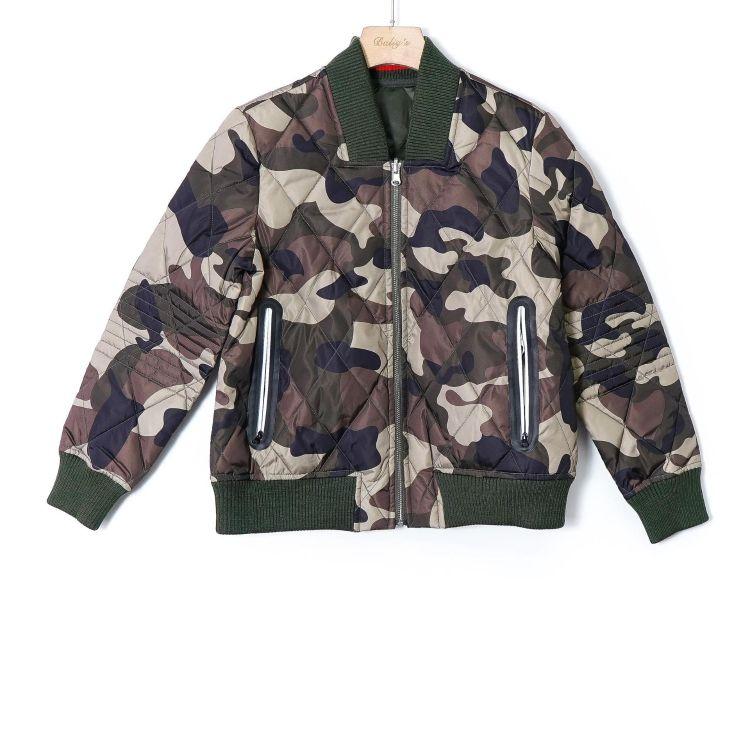 SZ-GJ0572117 实18秋冬新款棉衣军绿色两面穿外套针织拼接袖外套