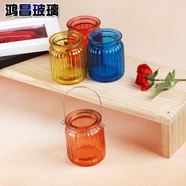 彩色玻璃水培玻璃瓶 插花玻璃瓶玻璃烛台可定制厂家直销