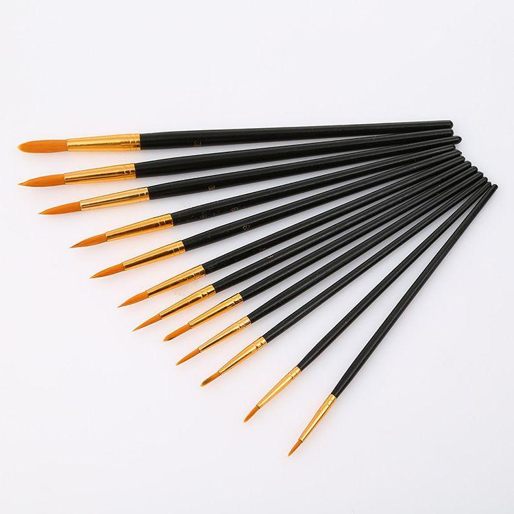 友燕画材供应铜管尼龙毛12支装水彩画笔 学生美术用品画笔套装