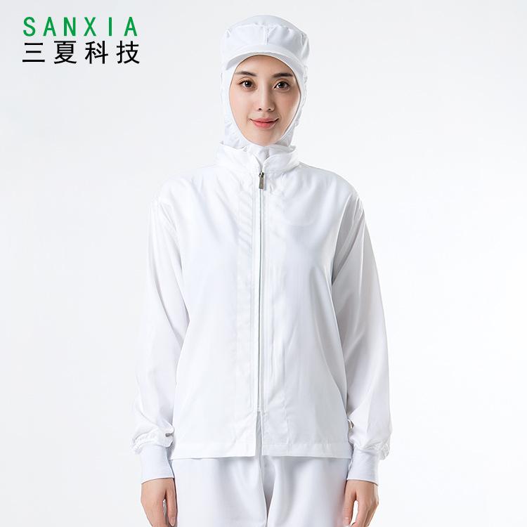 日本款白色食品工作服套装 生产加工厂服纯色男女长袖食品无尘服