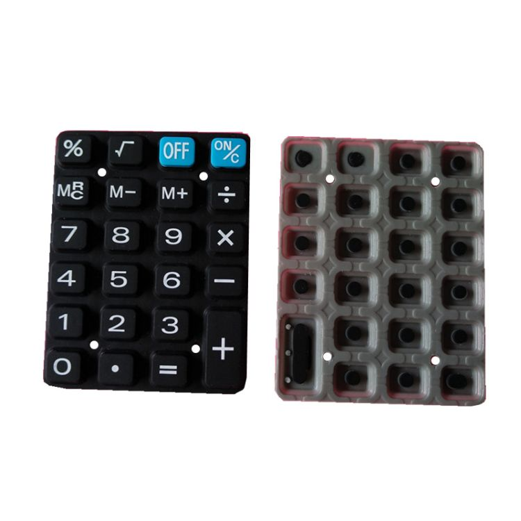 硅胶导电胶按键 计算器软胶本色按钮 镭雕喷油丝印硅橡胶制品加工