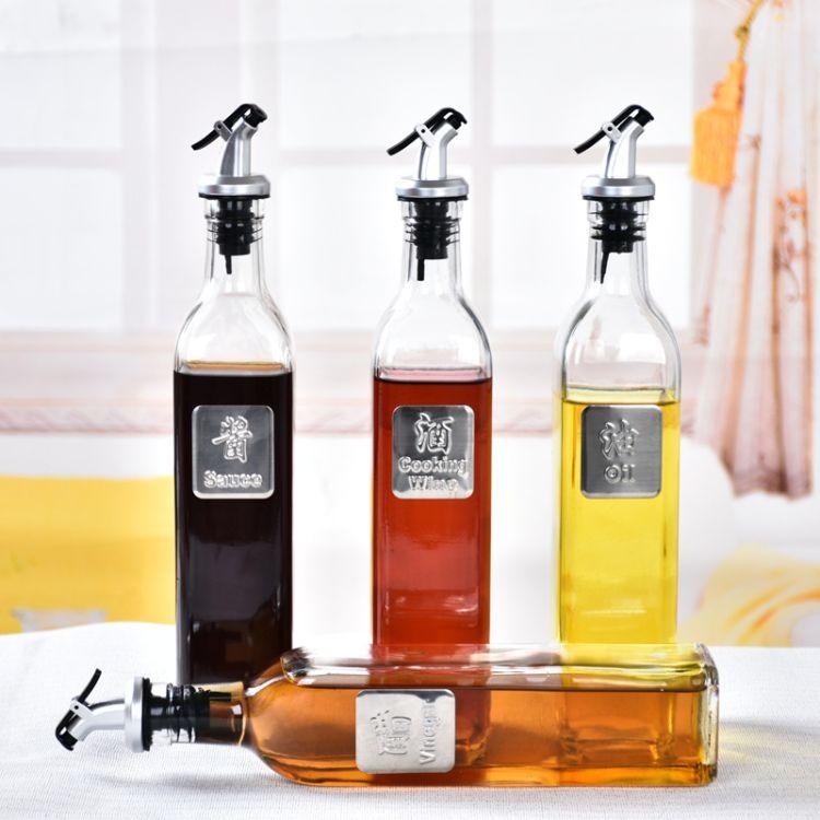 批发厨房用品玻璃酱油醋酒瓶500ML1斤装油壶调料瓶山茶瓶油瓶套装