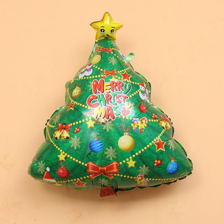 圣诞节商场店面装饰布置圣诞树铝膜气球 圣诞快乐铝箔氦气球批发