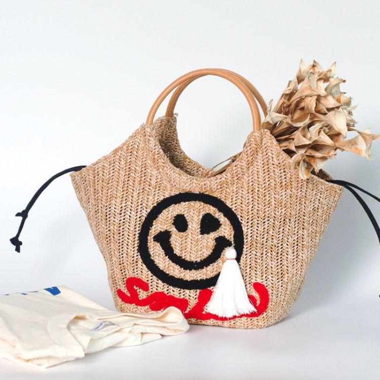 厂家批发韩国官网2018新款女包可爱吊坠沙滩包复古编织圆环手提包