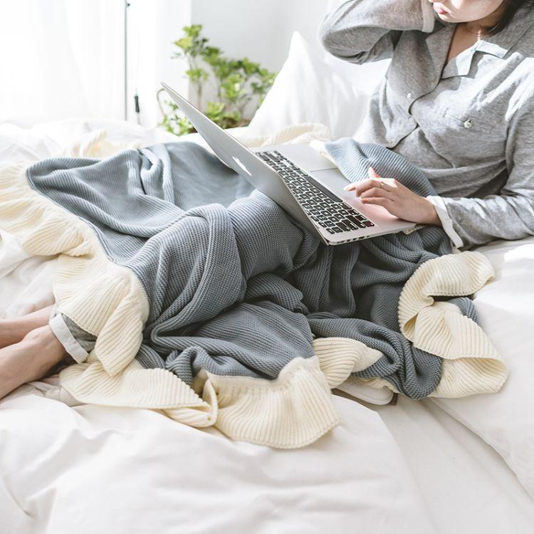 瑞景纺织新款荷叶边 ins针织毯子北欧风格 休闲毯沙发盖毯