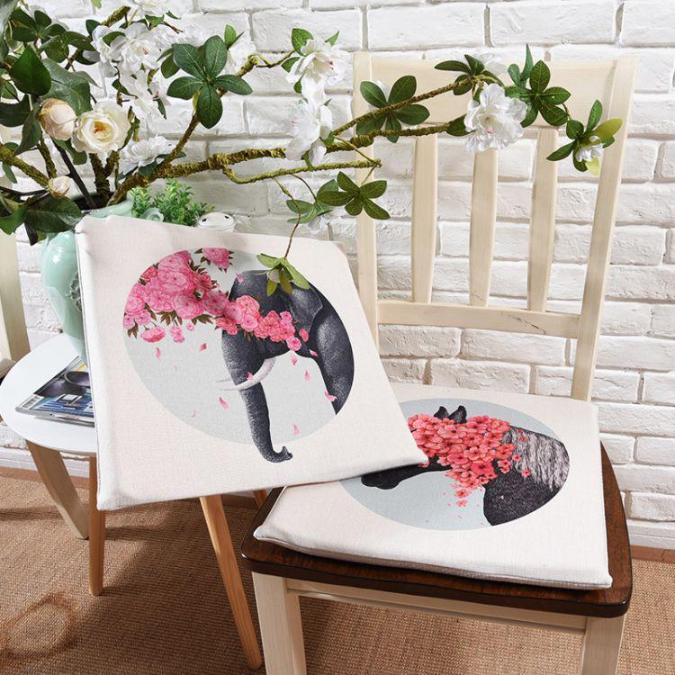 北欧文艺棉麻布艺餐桌椅垫 学生加厚坐垫办公室椅垫座垫 可拆洗
