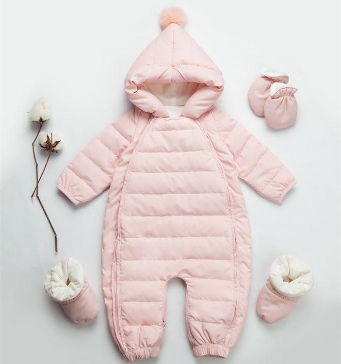 反季促销婴儿羽绒连体衣加厚保暖宝宝外出服哈衣婴儿冬季外出抱衣