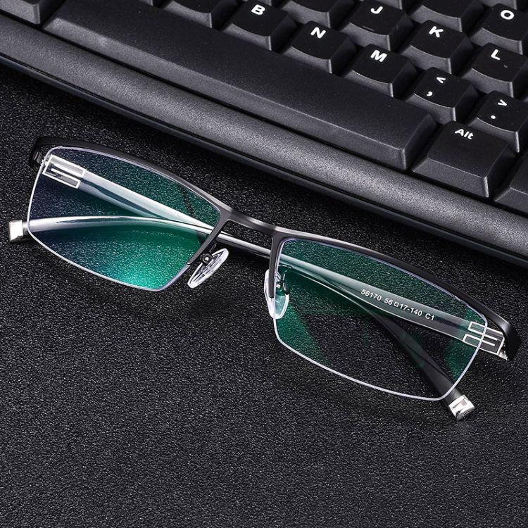 超轻眉线半框眼镜架男 近视眼镜框 男士商务眼镜框架可配镜56170