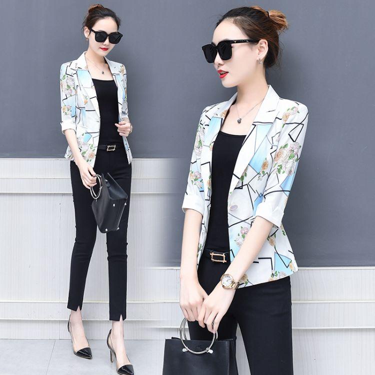2018韩版西装新款修身印花七分袖夏装空调衫小西服外套