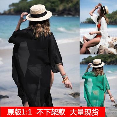 泳衣披肩比基尼罩衫海边渡假沙滩衣长款雪纺防晒衣开衫外套女薄款