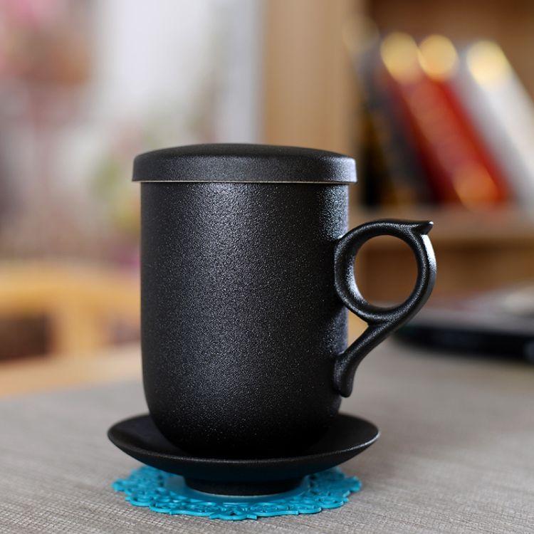 黑陶简约茶杯个性陶瓷四件套杯子过滤带盖粗陶马克杯个人办公杯