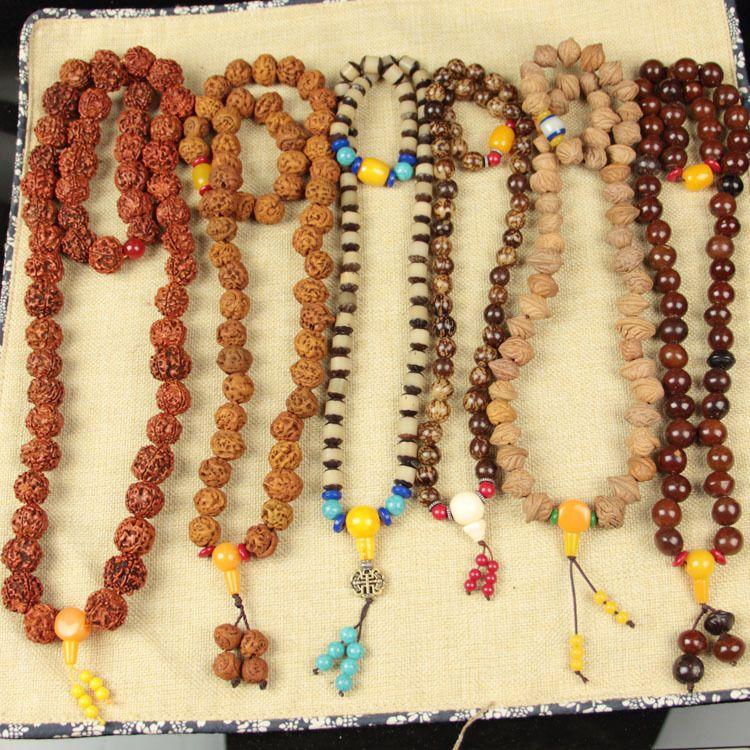 54颗菩提系列 天然菩提佛珠项链 金刚 花菩提根 桶珠 10元模式