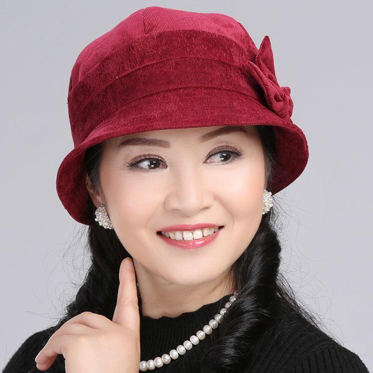 帽子女冬天燈芯絨一朵花盆帽老人帽 秋冬中老年帽子女漁夫帽布帽