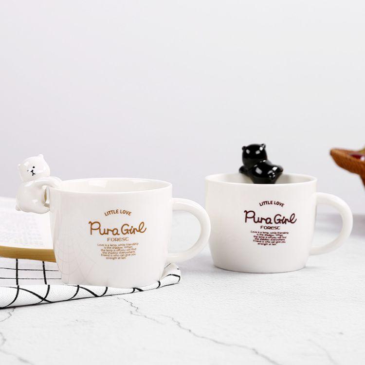 新品马克杯带盖卡通广告杯定制印LOGO茶杯子创意猫咪可爱陶瓷杯
