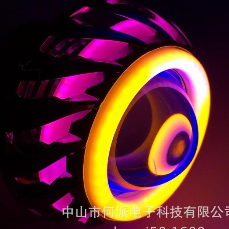 摩托电车鬼火LED/前大灯双/光/透镜/天使/恶魔眼/内置/聚光/包邮