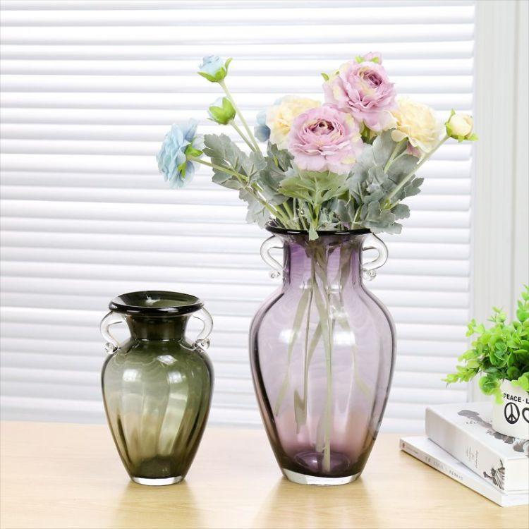批发花瓶玻璃瓶欧式家居装饰台面插花玻璃花瓶彩色水培玻璃瓶混批