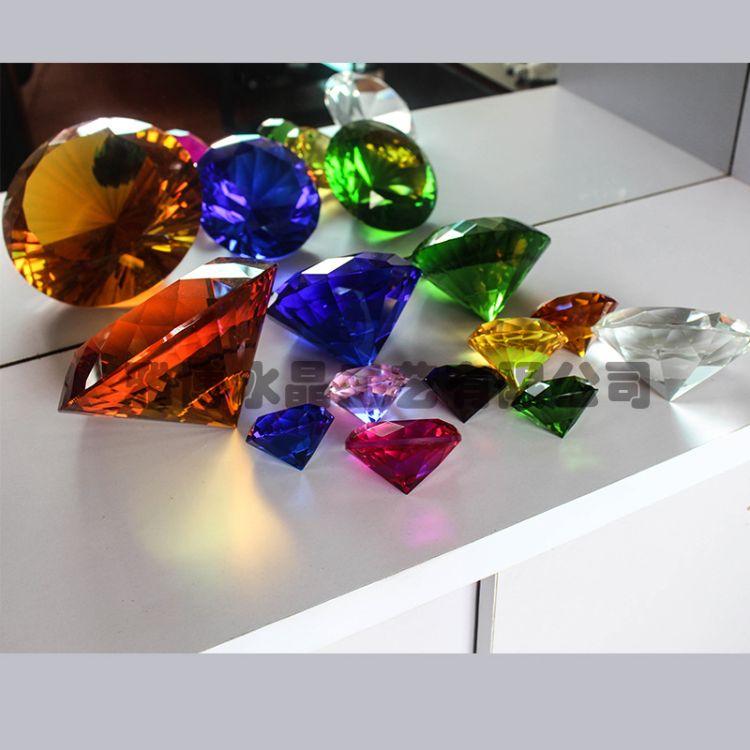 厂家直销水晶钻石彩色水晶钻石家居装饰摆件水晶工艺品来样可定制