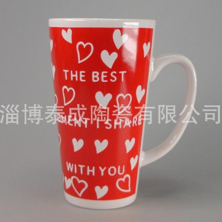 淄博陶瓷厂家销售爱心系列图案礼品高温贴花情人节促销陶瓷杯批发