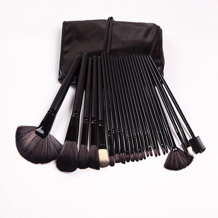24支专业化妆刷套装黑色 原木色化妆工具 全套刷美妆工具 配PU包