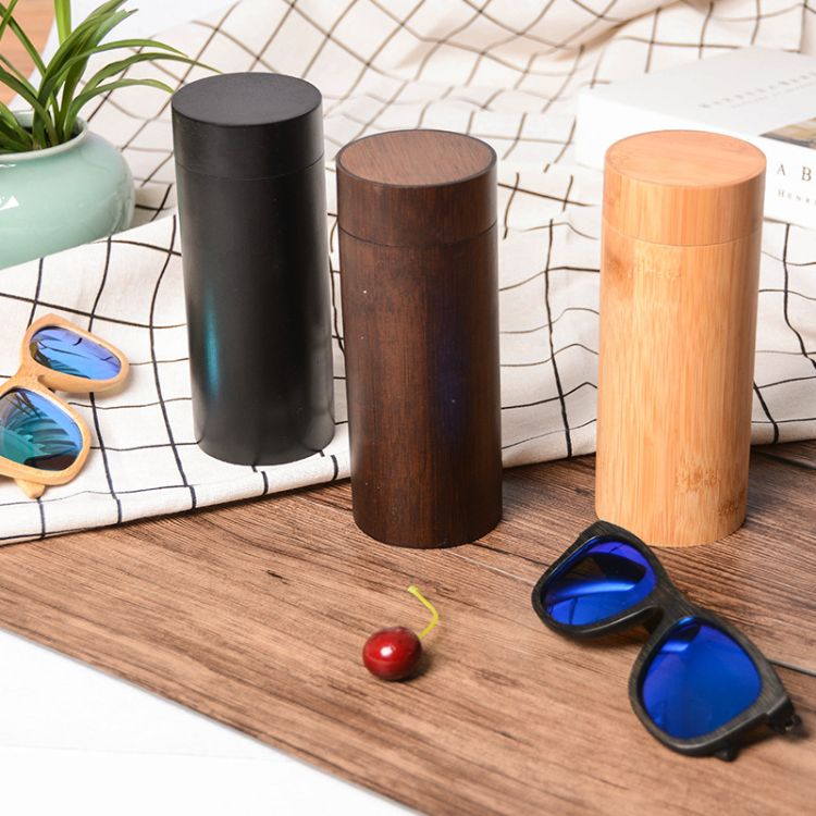 可定制LOGO天地蓋式圓筒竹制眼鏡盒全竹高檔綠色環保廠家直銷現貨