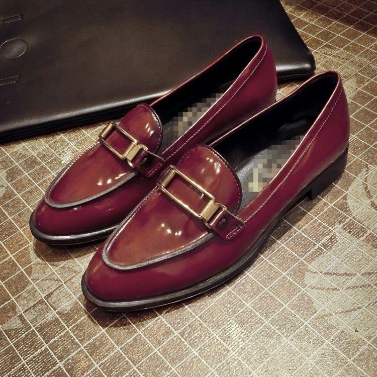 英伦小皮鞋19春新款头层牛皮+猪皮里尖头平底浅口单鞋舒适不臭脚