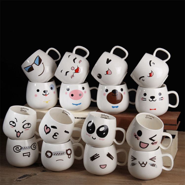 萌版表情杯创意陶瓷水杯简约牛奶咖啡杯情侣杯陶瓷马克杯定制