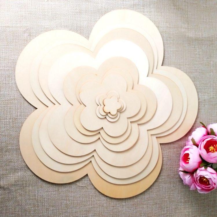 DIY纯手工辅料 木制梅花形木片涂鸦装饰木片 个性创意木制工艺品