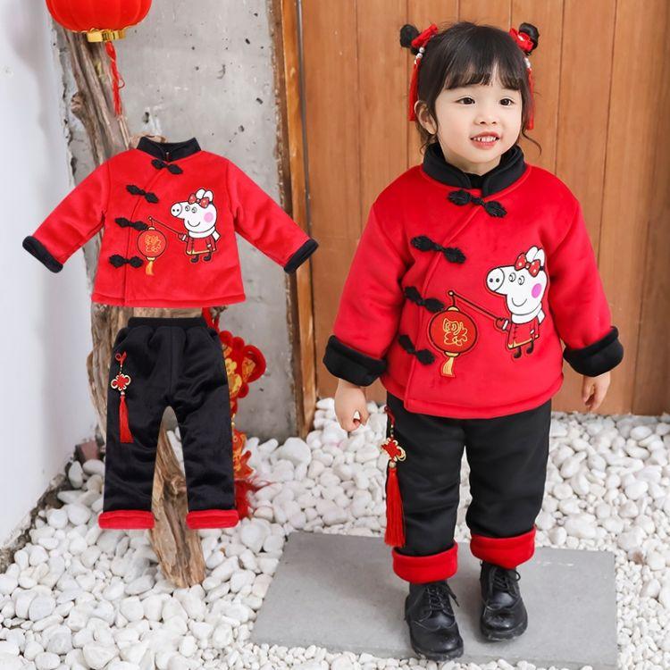 2018儿童年服宝宝新年装唐装男女童中国风保暖舒适小猪套装年服